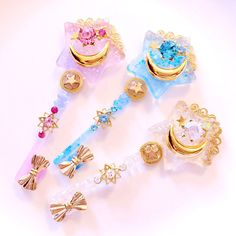 """Resin and indie crafts general - """"/cgl/ - Cosplay & EGL"""" is imageboard for the discussion of cosplay, elegant gothic lolita (EGL), and anime conventions. Kawaii Jewelry, Kawaii Accessories, Cute Jewelry, Magical Girl, Kawaii Room, Magical Jewelry, Glitter Force, Resin Charms, Fantasy Jewelry"""