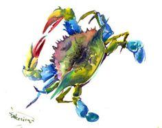 Cangrejo azul, 12 X 9 en la original acuarela mar mundo animal arte cangrejo pintura, mariscos, arte de cocina, restaurante arte, comida de mar, cangrejo animales