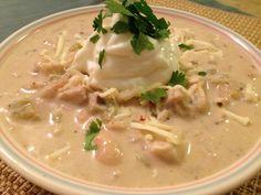 Creamy White Chicken Chili.  Recipe can be frozen.