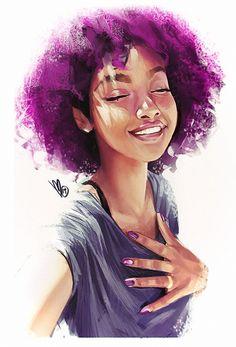 Artist: Mel Milton {contemporary figurative character illustrator beautiful female purple #naturalhair african-american black woman portrait photoshop digital painting} Nice lighting!!