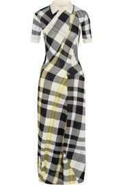 Stella McCartneyKariertes Maxikleid aus gestrickter Baumwolle
