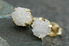 Rough+Diamonds+in+14k+Yellow+or+White+Gold+Earrings+by+Specimental,+$250.00