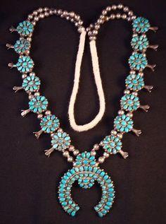 Navajo Squash blossom Necklace Multi Turquoise Stones