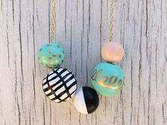 No. 6 // Hand Painted Wooden Bead Necklace on Etsy, $20.00