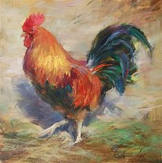 """Rooster"" - Original Fine Art for Sale - © Kelvin Lei"