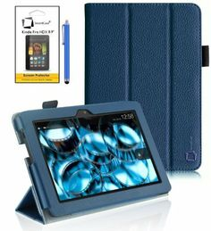 "New Amazon Kindle Fire HDX 8.9 inch 8.9"" 2013 (ALL Model Versions - 16GB, 32GB & 64GB Wi-Fi + 4G LTE) BLUE Multi-Function Leather SMART FOLIO Front & Back Case / Smart Cover / Typing & Viewing Stand / Premium SLIM Flip Case With Magnetic Sleep Sensor & Screen Protector Shield Guard & Amazon Kindle Fire HDX Tablet Blue Stylus Pen Accessory Accessories Pack by InventCase® by InventCase®, http://www.amazon.co.uk/dp/B00FFHBG6K/ref=cm_sw_r_pi_dp_eDBetb18S6QV0"