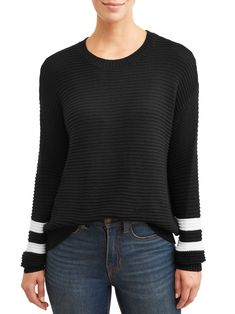 Time and Tru - Time and Tru Womens Ottoman Stitch Sweater - Walmart.com