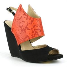 Fahrenheit Red Peep-toe Wedge Sandal | Rashida-05  Let your unique personality fly from your feet with these very cool fashion wedges. Featured with a wing-inspired snake-skin material upper with adjustable sling-back buckle closure. Made with smooth faux suede materials on a single sole construction. Cushioned insole and rubber outsole.