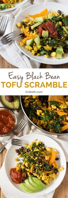 This Easy Black Bean Tofu Scramble is easy to make and filled with plant-based protein. The perfect vegan alternative to scrambled eggs. Vegan Breakfast Recipes, Vegetarian Recipes, Healthy Recipes, Vegan Breakfast Protein, Tofu Recipes, Vegan Protein, Breakfast Ideas, Seitan, Tempeh