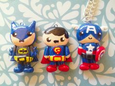 Hand painted polymer clay super hero charms!