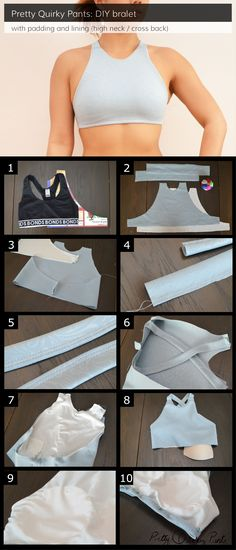 Diy ideas para reciclar tu ropa diy lined and padded bralet or sports bra diy fashion Diy Clothing, Sewing Clothes, Clothing Patterns, Sewing Patterns, Golf Clothing, Shirt Patterns, Barbie Clothes, Dress Patterns, Clothing Stores