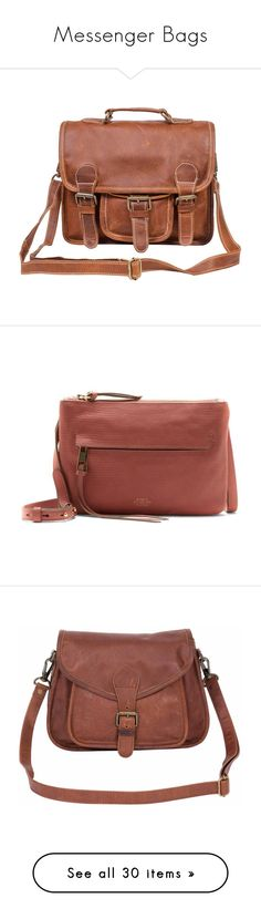 """""""Messenger Bags"""" by briaud ❤ liked on Polyvore featuring bags, handbags, leather handbags, vintage leather purse, leather messenger bag, brown leather purse, man bag, shoulder bags, leather crossbody handbags and leather crossbody purse"""