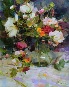 Red Roses & Peonies is one of Richard Schmid's new floral still life paintings for our Nov. show! Sold: