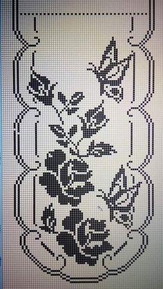 Photo from album Filet Crochet Charts, Crochet Motifs, Crochet Art, Thread Crochet, Crochet Patterns, Butterfly Cross Stitch, Cross Stitch Borders, Cross Stitch Designs, Cross Stitching