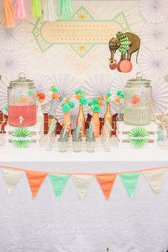 vintage peach and mint baby shower drink ideas - would look great in blue and white, too.