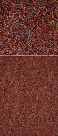 "Persian Shawls - TextileAsArt.com, Fine Antique Textiles and Antique Textile Information  Antique Persian Kerman Shawl, Hand woven Wool Qajar Dynasty 1795 - 1925 A.D  Size 37"" x 27"" Size 95 x 68cm"