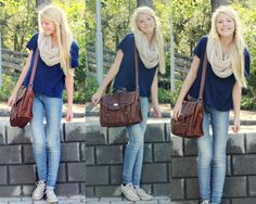 cute and simple outfit | light washed jeans, converse, t-shirt, scarf, brown bag