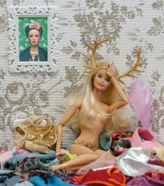 trophy wife Barbie Sexy horns undress  Frida Kahlo paint