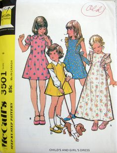 70s McCalls 3501 - Vintage Girls Dress Sewing Pattern - Puff Sleeve - Sash Tie - Complete Uncut Size 8