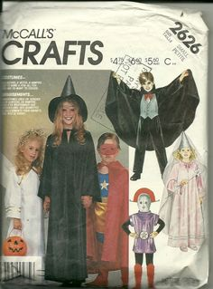 McCall's Sewing Pattern 2626 Childrens Costume Angel Witch Knight Vampire Used