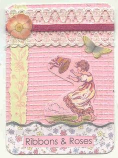ATC ~ Ribbons and Roses by foreverpackrat, via Flickr