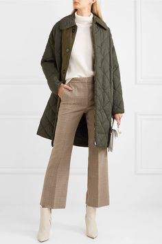 Army-green twill and faux suede Two-way zip fastening through front 40% polyamide, 36% cotton, 24% linen; trim: 100% polyurethane; filling: 100% polyester Dry clean Imported