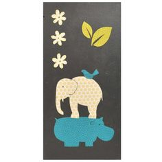 Persnickety Baby Bedding Gus Full Nursery Elephant / Hippo Hand Painted Wall Art