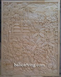 Web Code : BR046  BALI CARVING 98.5 W X 137.75 H  STONE CAN IT BE SMALLER?  CAN IT BE WOOD?