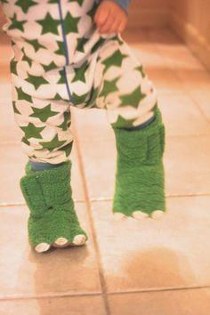 Monster dino feet. (Carter's dino slippers)