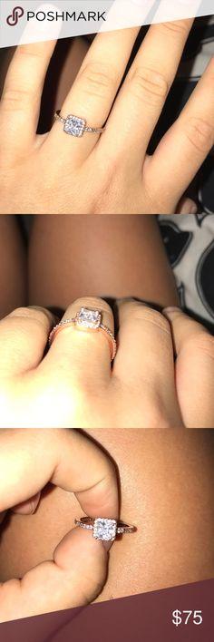 """Pandora ring Rose gold square diamond ring """"Timeless elegance"""" Pandora Jewelry Rings"""