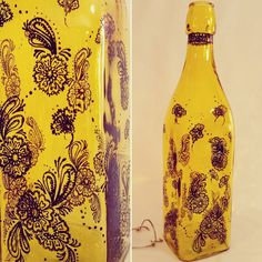 Hand painted, yellow tinted glass bottle/ decoration piece - henna inspired design in black