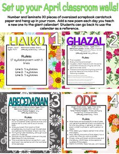 Can your class write 30 poems in 30 days? Introduce a new kind of poem each day and watch your students flourish!  From haiku, to abc poems, to ode, to villanelle, students will be exposed to a huge variety of poetry this month!
