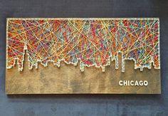 Chicago Skyline String Art by CactusCustomDesigns on Etsy art diy art easy art ideas art painted art projects Chicago Skyline, Chicago Art, Skyline Art, Vancouver Skyline, Minneapolis Skyline, Vegas Skyline, String Art Diy, String Art Tutorials, String Art