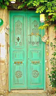Alachati's beautiful doors.. Izmir, Turkey
