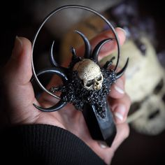 Items similar to Realistic Human Skull Pendant, Black Obsidian Crystal Point Pendant, Crescent Sailor Moon Necklace, Polymer Clay Jewelry, Gothic Style Jewel on Etsy Witch Jewelry, Gothic Jewelry, Black Jewelry, Boho Jewelry, Silver Jewelry, Fashion Jewelry, Skull Model, Skull Pendant, Pearl Pendant