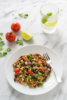 Southwest Farro Salad. An easy, healthy, one-bowl dinner