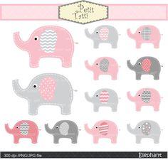 elephant clip art Digital clip art cute elephant by petittatti