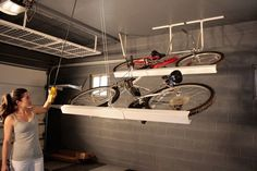 Store bikes horizontally along the ceiling. | 42 Storage Ideas That Will Organize Your Entire House