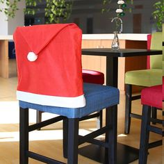 Yeduo Hort Santa Claus Hat Chair Covers Christmas Dinner Table Party - Red Mobile