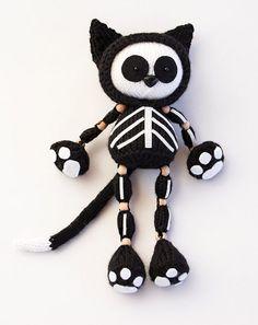 Knitting Pattern for Skeleton Black Cat