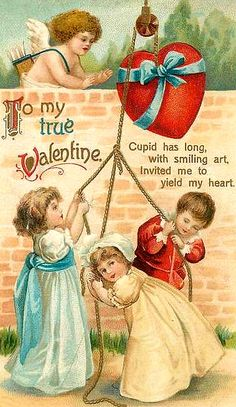 Wonderful vintage Valentines postcard with children!