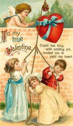 Wonderful vintage Valentines postcard with children!