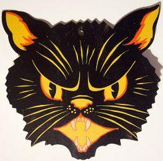 Vintage Halloween Diecut cat head by riptheskull, via Flickr