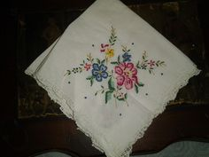 Vintage Floral Embroidered Hanky With lace ages. from The Early days 30s-40s Era.