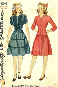 Simplicity Pattern 4849 Vintage 40's Truly Teen Style - Two Piece Dress - Optional Scallops, Ruffles! Complete Size 10 Bust 28