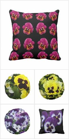 Pansy Collection, Pansy, Purple, Yellow, Pansies, Products, Cushions, Bottles, Watches,Mugs, Bags, Shoes, Laptop Sleeves, Pens, Pouf, Necklace, Ties, Bathroom Accessories, iPad Sleeves