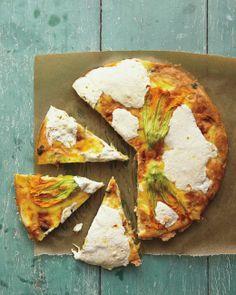 Squash-Blossom Frittata Recipe | Martha Stewart {photo by Raymond Hom}...sub mozzarella for goat cheese