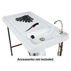 Bass Pro Shops® Folding Processing Table |  My new addition to our outdoor kitchen, a sink for our pop-up camper!