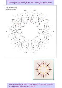 ED106 Mandala on Craftsuprint designed by Emy van Schaik - Stitching with beads - Now available for download!