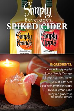 Every Halloween party needs the perfect party punch. Combine the delicious, fresh flavors of Simply Orange® and Simply Apple® into a cider that has it all. Garnish with ruby red grapefruit and feel the spirit of the season with every sip.